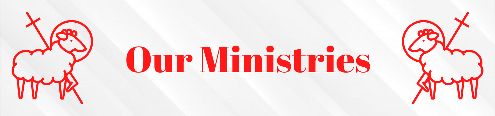The word Ministries written in red writing with a clipart image of a lamb with a spear in a red outline one on each side of the word.